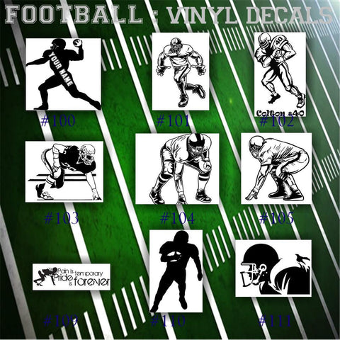 FOOTBALL vinyl decals - 100-111 - team sports sticker - car window decal - personalized football sticker