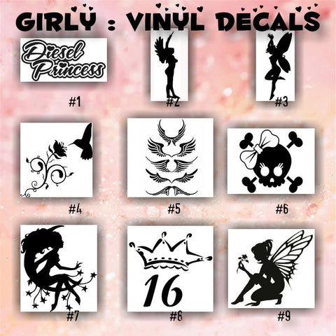 GIRLY vinyl decals - 1-9 - car window sticker - lips sticker - hearts decals - wall sticker - personalized stickers - custom vinyl decal