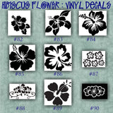 HIBISCUS FLOWER vinyl decals - 73-81 - car window stickers - personalized vinyl sticker - wall decals