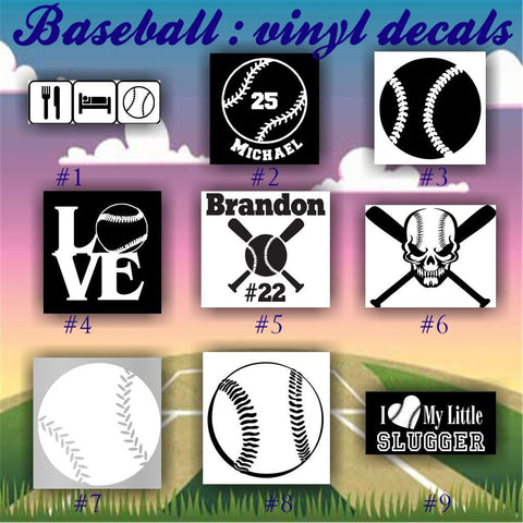 BASEBALL vinyl decals - 1-9 - vinyl sticker - car window sticker - custom vinyl decal - personalized baseball sticker - CreativeStudio805