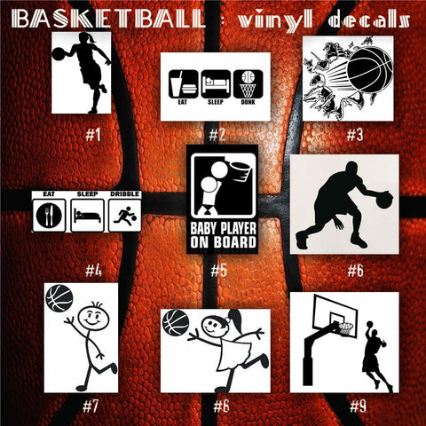 BASKETBALL vinyl decals - 1-9 - bball stickers - hoops car decal - custom window decal - personalized sticker - CreativeStudio805
