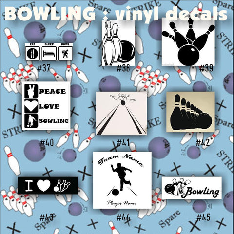 BOWLING vinyl decals - 37-45 - vinyl stickers - car window decal - custom stickers - personalized decals - CreativeStudio805