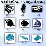 NAUTICAL vinyl decals - 37-45 - seahorse decal - seashell sticker - tropical fish sticker - vinyl decal - vinyl sticker