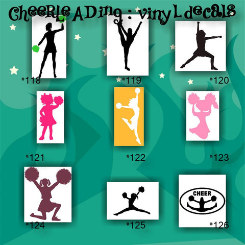 CHEERLEADING vinyl decals - 118-126 - cheerleader - cheer - pompoms - vinyl stickers - car decal - custom vinyl sticker - CreativeStudio805