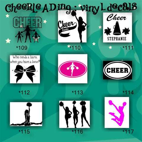 CHEERLEADING vinyl decals - 109-117 - cheerleader - cheer - pompoms - vinyl stickers - car decal - custom vinyl sticker - CreativeStudio805