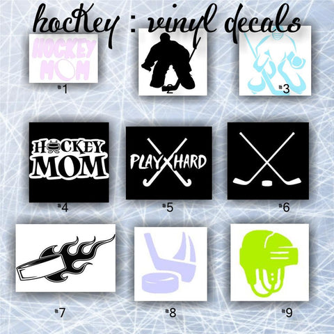 HOCKEY - pgs #1 - #4 - personalizable vinyl decals / car stickers