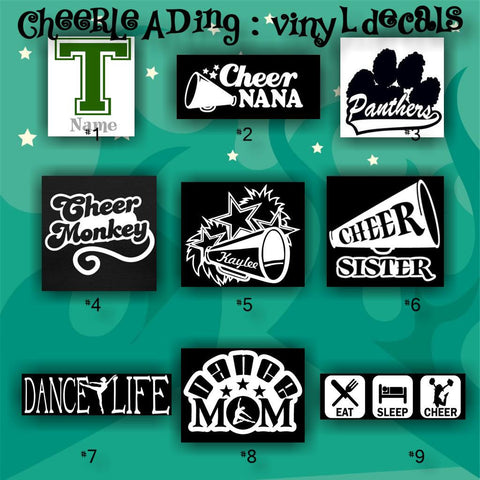 CHEERLEADING vinyl decals - 1-9 - car stickers - cheerleader sticker - car decal - custom vinyl decals - personalized stickers - CreativeStudio805