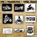 MX / MOTORCYCLE / BMX vinyl decals pgs #1 - #4 - personalizable car window stickers