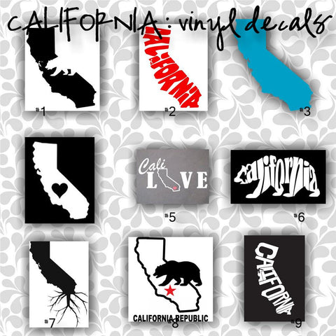 "SMALL 5""-6"" - CALIFORNIA vinyl decals - 1-9 - car decal - car sticker - laptop sticker - decal - sticker"