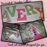 B - Glitter Zebra Stripes - Decorated Wooden Letters - you pick colors - CreativeStudio805