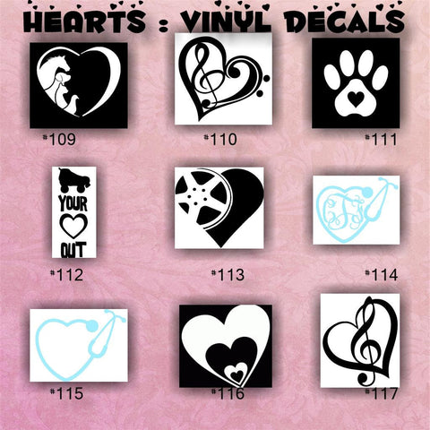 HEARTS vinyl decals - pg #13-14