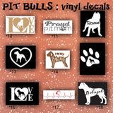 PIT BULLS vinyl decals - 10-18 - car window stickers - personalized vinyl decals - custom vinyl stickers - car decal - car sticker