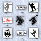 SNOWBOARDING #28-36 - vinyl decals - personalizable and multiple colors available