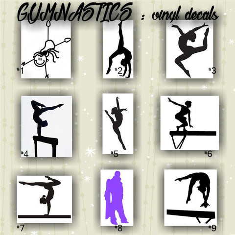 GYMNASTICS vinyl decals #1-9 -  personalizable and multiple colors - car window stickers
