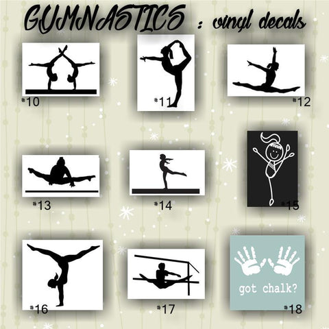 GYMNASTICS vinyl decals - pages #10-18 -  personalizable and multiple colors available - car window stickers