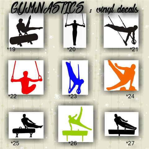 GYMNASTICS #19-27 - vinyl decals - personalizable and multiple colors available