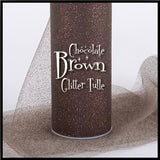 "CHOCOLATE BROWN glitter tulle -6"" x 10 yard and 6"" x 25yard rolls - other colors and sizes also available - CreativeStudio805"