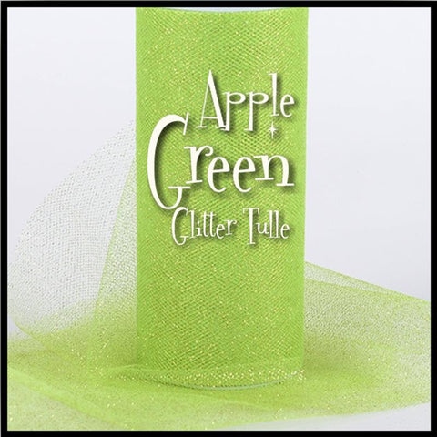 "APPLE GREEN glitter tulle -6"" x 10 yard and 6"" x 25yard rolls - other colors and sizes also available - CreativeStudio805"