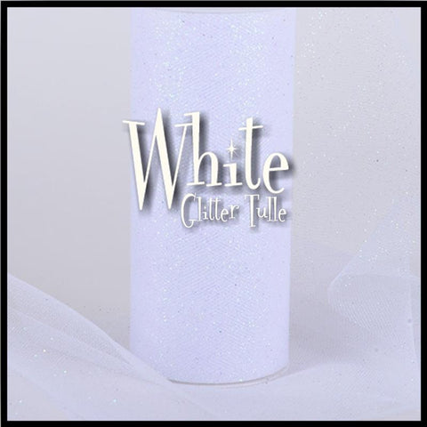 "WHITE glitter tulle -6"" x 10 yard and 6"" x 25yard rolls - other colors and sizes also available"