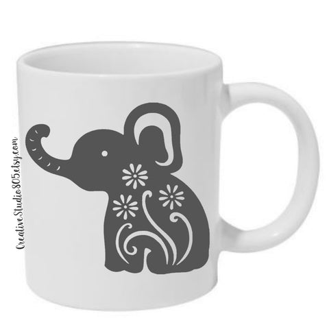 elephant flourish - coffee mug - unique coffee mug - inspiring coffee mug - elephant coffee mug