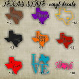 TEXAS vinyl decals - 10-18 - car window sticker - custom texas car sticker - personalized decal - car sticker - vinyl sticker - decal
