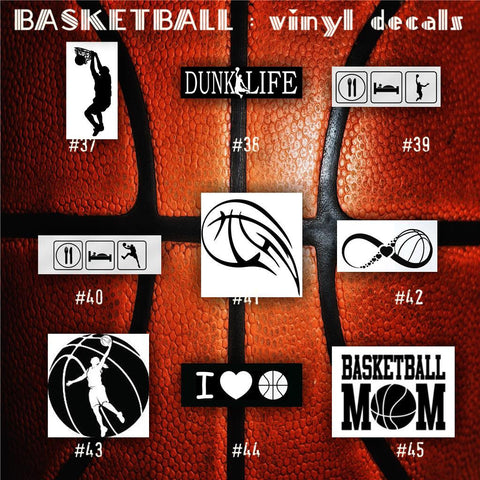BASKETBALL vinyl decals - 37-45 - bball stickers - hoops car decal - custom window decal - personalized sticker - CreativeStudio805