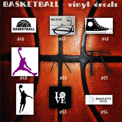 BASKETBALL vinyl decals - 46-54 - bball stickers - hoops car decal - custom window decal - personalized sticker - CreativeStudio805