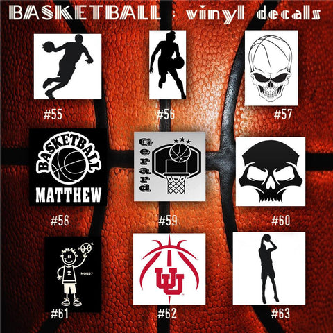 BASKETBALL vinyl decals - 55-63 - bball stickers - hoops car decal - custom window decal - personalized sticker - CreativeStudio805