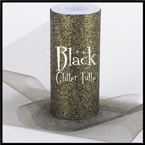 "BLACK glitter tulle -6"" x 10 yard and 6"" x 25yard rolls - other colors and sizes also available - CreativeStudio805"