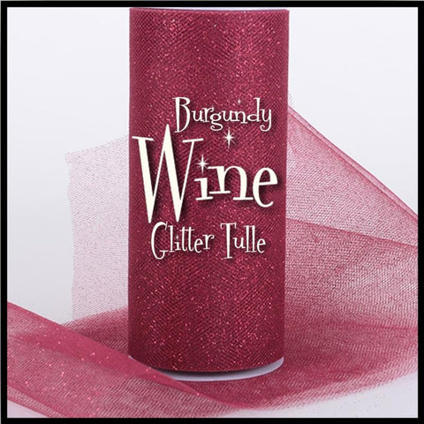 "BURGUNDY WINE glitter tulle -6"" x 10 yard and 6"" x 25yard rolls - other colors and sizes also available - CreativeStudio805"