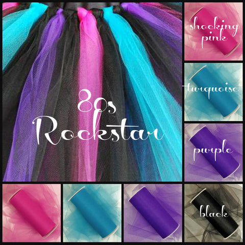 80s ROCKSTAR - Premium Nylon Tulle - 25 Yard Rolls - SET OF 4 - shocking pink, turquoise, purple and black - CreativeStudio805