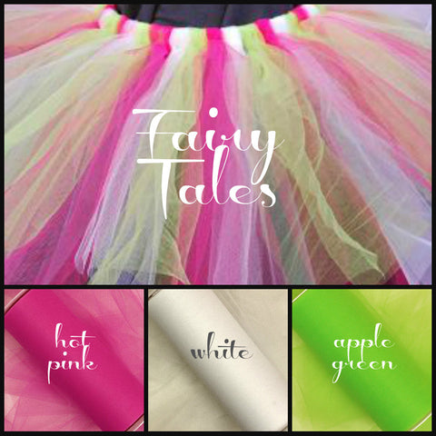 FAIRY TALES - Premium Nylon Tulle - 25 Yard Rolls - SET of 3 - apple green, white and hot pink