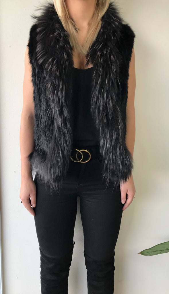 Chloe Fur Vest with Trim