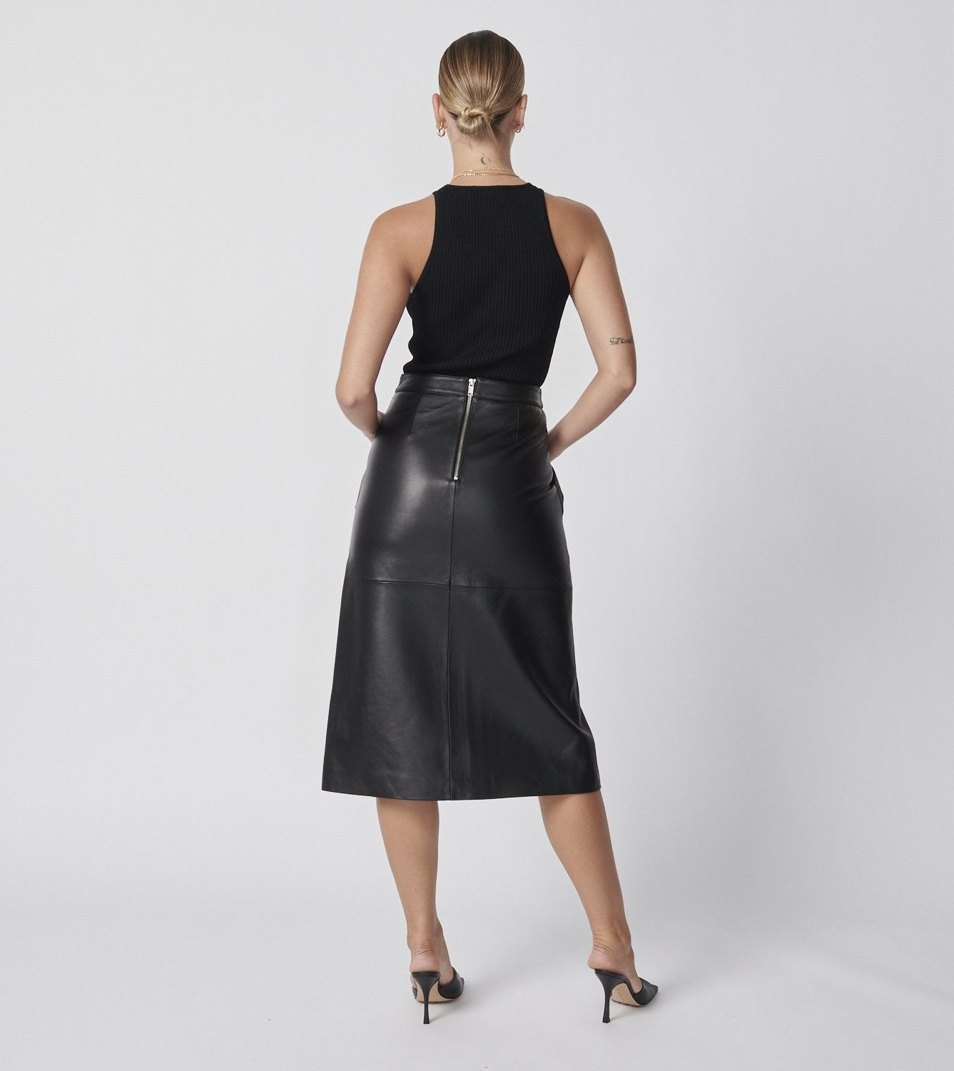 Longline Utility Skirt - Black Leather