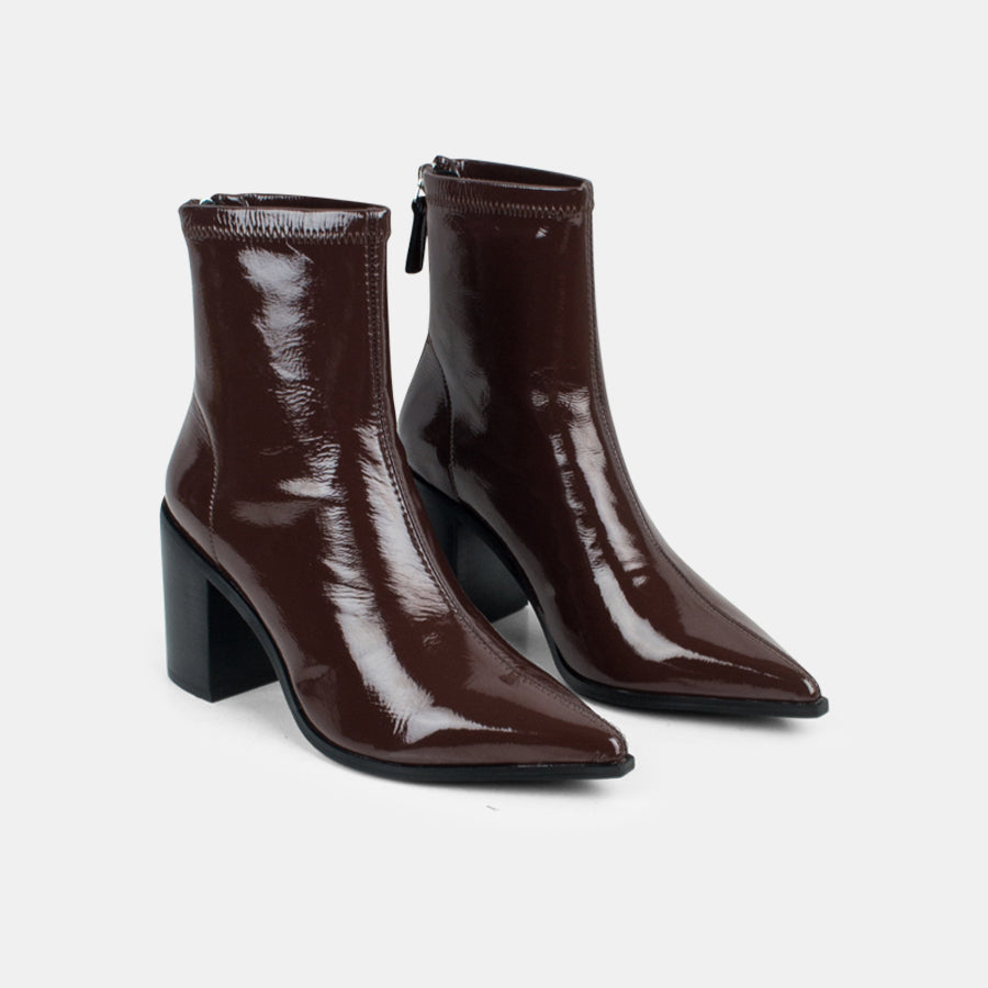 Zara Stretch Leather Patent Boot - Brown