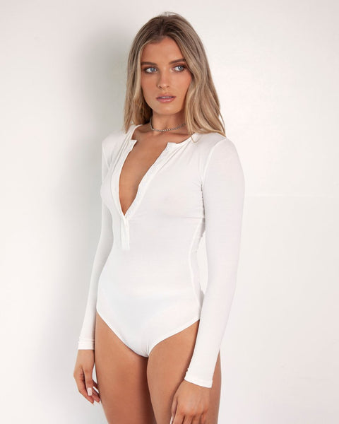 Long Sleeve Crew Neck Button Down Bodysuit - White