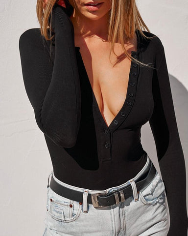 Long Sleeve Crew Neck Button Down Bodysuit - Black