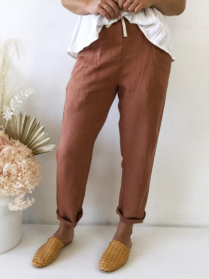 Luxe Linen Pants - Rust