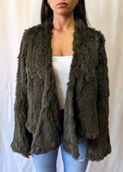 Cara Swing Fur Jacket - Khaki