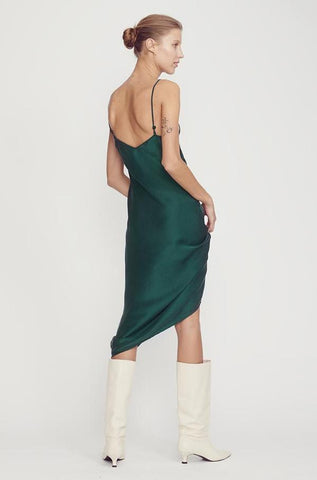 Silk Laundry 90's Silk Slip Dress - Emerald