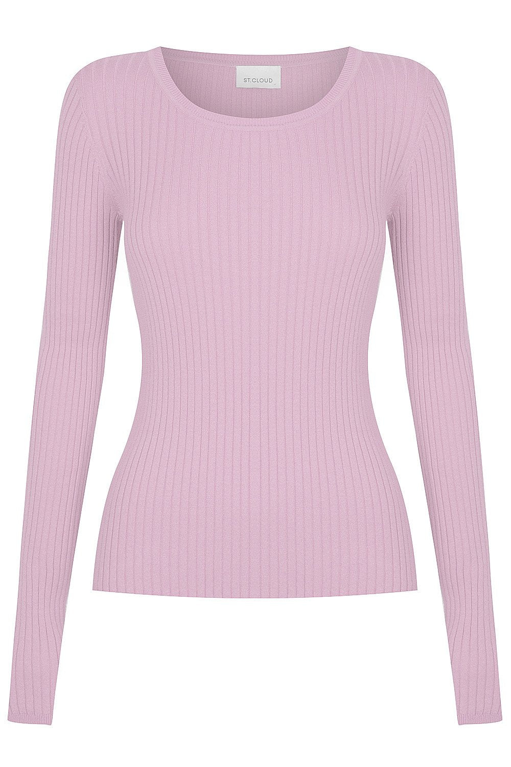 Long Sleeve Ribbed Crew - Wild Rose