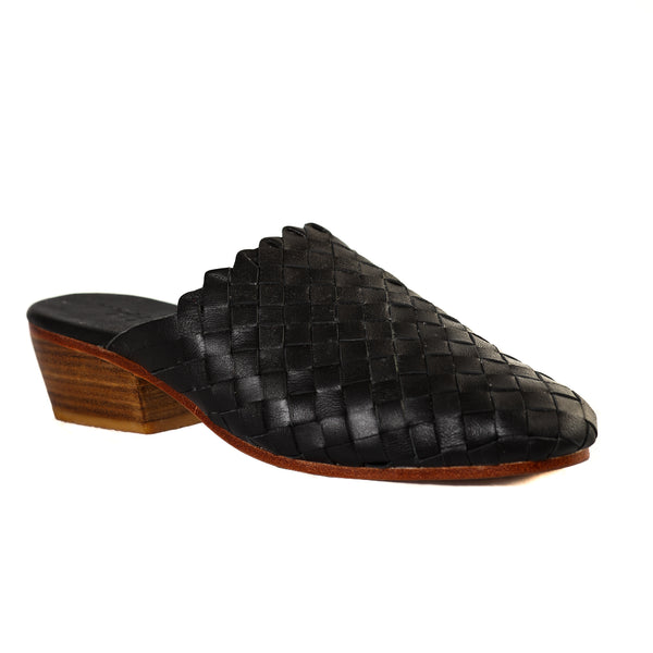 Kelly Woven Leather Mules in Black