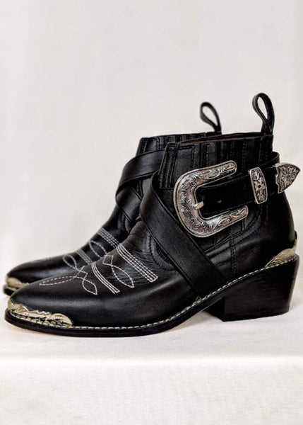 Leo Ankle Cowboy Boot in Black