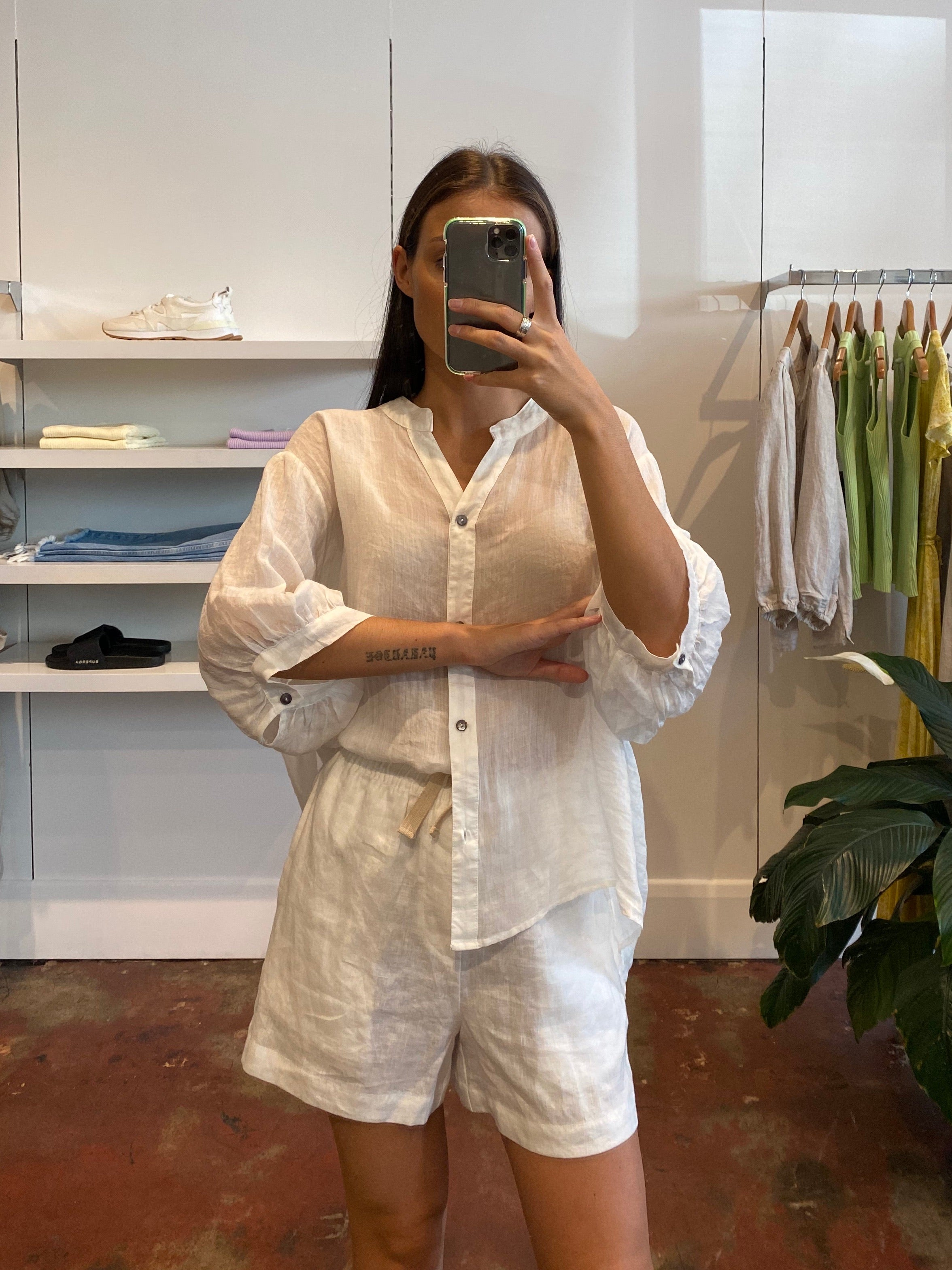 Linen Blouse - White - SALE