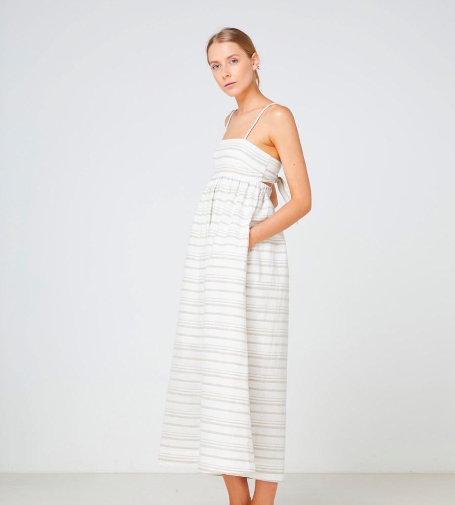 Tuscany Maxi Dress - Natural Stripe