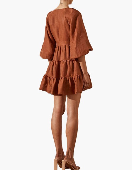 Elsa Wrap Mini Dress - Gingerbread