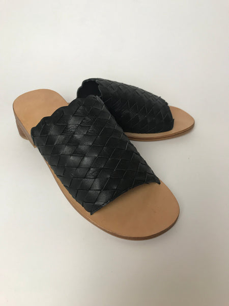 Kelly Leather Slides - Black
