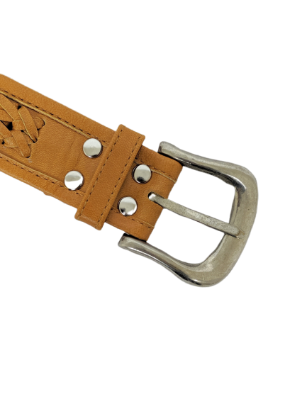 The Miley Woven Leather Belt in Tan