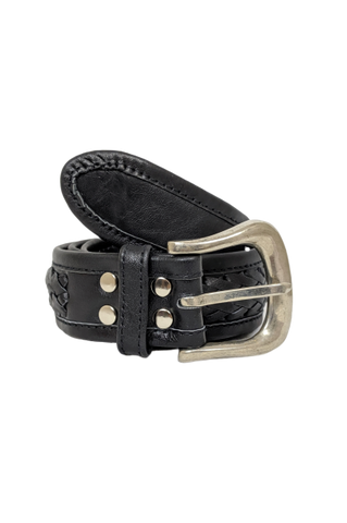 The Miley Woven Leather Belt in Black