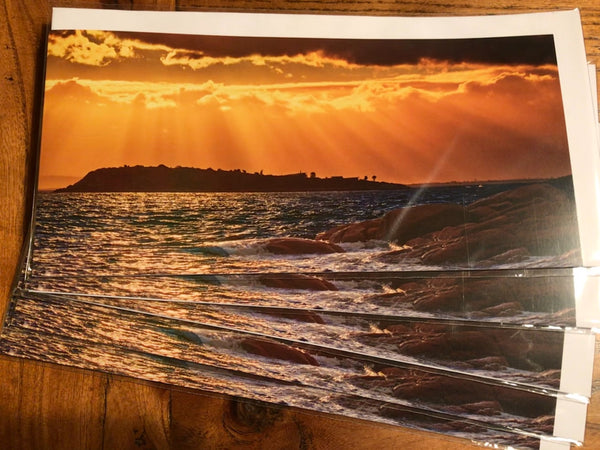 Greeting Card Panorama - Golden Sunset at Coles Bay.